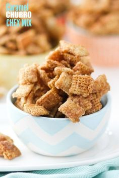 Caramel Churro Chex Mix -- we could NOT stop eating this! Easily the best snack I've ever eaten.