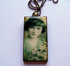 Making jewelry with resin - use old family photos w/name & date on back