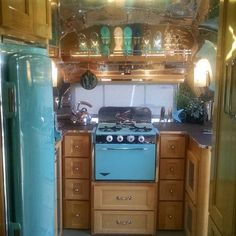 Inside of a custom 1959 Airstream pacer 18 foot model.