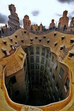Rooftop of La Pedrera (or Casa Milà), Barcelona, Spain designed by Antoni Gaudi, completed in 1912.