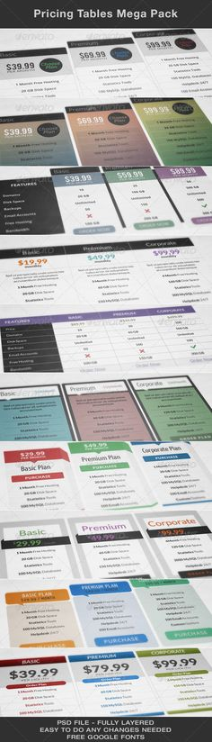 Pricing / Subscription Tables Mega Pack - 10 pcs by noxrulz 10 clean and modern pricing tables for you to use on your design projects on on your personal websites. All layers are very organ
