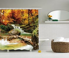 Ambesonne Waterfall Decor Collection, Autumn Creek Woods Trees and Foliage Rocks in Forest Picture, Polyester Fabric Bathroom Shower Curtain Set with Hooks, 75 Inches Long, Orange Green Beige #Ambesonne #Waterfall #Decor #Collection, #Autumn #Creek #Woods #Trees #Foliage #Rocks #Forest #Picture, #Polyester #Fabric #Bathroom #Shower #Curtain #with #Hooks, #Inches #Long, #Orange #Green #Beige