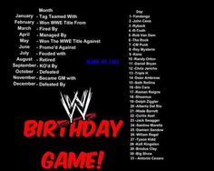 #WWE Birthday Game... I got 'Managed by Damien Sandow' ... I can live with that lol, we could chill and mock people lol.