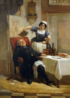 English : Gentleman Cooling Down, 1876 Painting by Firmin Gaston Bouvy,  German, 1822 - 1881