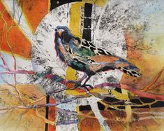 48 Best Ideas For Painting Abstract Tree Karen Oneil Bird Painting Acrylic, Watercolor Art, Crow Art, Bird Art, Collages, Collage Art, Painting People, Animal Paintings, Painting Inspiration