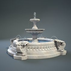 Fountain Model available on Turbo Squid, the world's leading provider of digital models for visualization, films, television, and games. Classic House Design, Modern Villa Design, Modern Interior Design, Mansion Interior, Luxury Interior, Door Design, Exterior Design, Window Design, Diy Garden Fountains