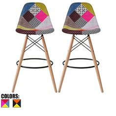 - Set of Two - Multicolor - Seat Height Modern Upholstered Eames Style Bar Stool Barstool Counter Stools with backs and armless Natural Legs Wood Eiffel Legs Dowel-Leg
