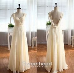 A line Sweetheart Champagne Backless Prom Dress, Bridesmaid Dress