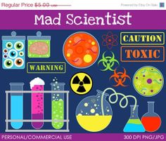 Mad Scientist Clipart - Digital Clip Art Graphics for Personal or Commercial Use