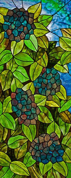 Hydrangea Glass Art