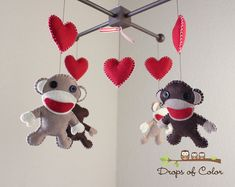 Baby Mobile - Baby Crib Mobile - Sock Monkey and Hearts - Nursery Decor Mobile (You Can Pick Your Colors) on Etsy, $85.00