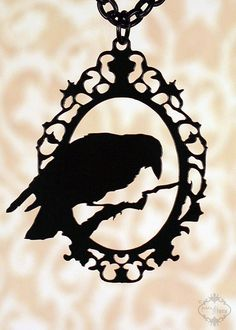 Silhouette raven pendant made from black steel. http://fableandfury.com/shop - lots of cool stuff!