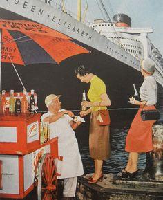 1950s, NEW YORK CITY -  Hot Dog Stand - QUEEN ELIZABETH Ocean Liner