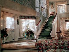 Leave Her to Heaven movie Bar Harbor house I think the overuse of chintz was what really drove Gene Tierney's character to murder Movie Decor, House Design, House, Pretty House, Vintage House, Harbor House, Prairie Home, Stone Houses, Vintage Interiors