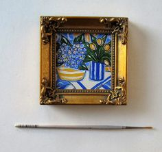 Well, the artistic miniature painting ideas listed in this article are intricate and delicate brushwork which lends them a unique identity, these paintings Abstract Painting Techniques, Acrylic Painting Canvas, Blue Painting, Mini Paintings, Original Paintings, Miniature Paintings, Painting On Glass Windows, Floral Artwork, Yellow Tulips