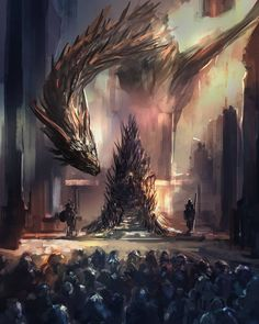 I really do want Dany to sit on the Iron Throne tonight though. I'm gonna miss Game of Thrones, biggest fantasy show of our modern times. that will not happen by tsundere-power on Throne, Fantasy, Iron Throne, Throne Of Glass, Tsundere, Game Of Thrones Dragons, Fire, Pictures, Fan Art