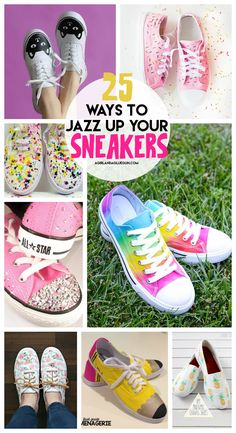 You got to see my daughter's fun sharpie sneakers (go here) Which of course started a whole pinterest rage of awesome sneaker ideas….so cue the roundup! Pineapple shoes Fabric covered shoes cute floral shoes polka dot shoes adorable diy shoes super cute tie dye shoes Studded converse cute diy shoes diy shoes cute flamingo diy …