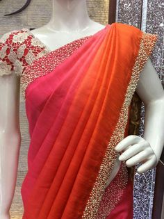 Pink Orange Sari Chiffon Saree, Saree Dress, Fancy Sarees, Party Wear Sarees, Indian Dresses, Indian Outfits, Sari Design, Simple Sarees, Stylish Sarees