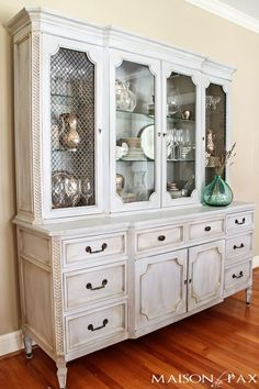 To create this look, I used Chalk Paint® Decorative Paint by Annie Sloan in the colors Paris Grey and Old White, Clear Soft Wax, and Dark Soft Wax. I began with a coat of Paris Grey over the entire thing. The Annie Sloan Pure Bristle Brush was perfect for getting into the grooves of this piece.