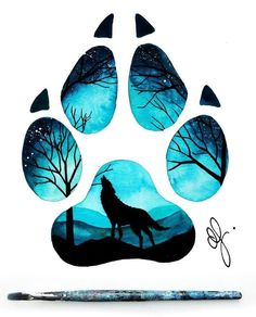 Paw with howling wolf inside. This artwork with turquoise tones complements . - Paw with howling wolf inside. This artwork complemented with turquoise tones …, # h - Wolf Silhouette, Silhouette Painting, Wolf Tattoos, Animal Drawings, Art Drawings, Cool Wolf Drawings, Wolf Paw Print, Marshmello Wallpapers, Abstract Wolf