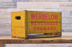 Vintage Werbelow Beverages Shawano Crate, Wooden Crate Shawano Wisconsin
