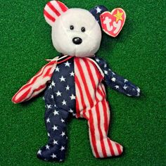 86e0854abf6 Ty Beanie Baby Spangle The White Face USA Patriotic Plush Toy MWMT Free  Shipping