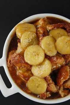 Banana Fosters upside bread pudding - Miss-Recipe.com