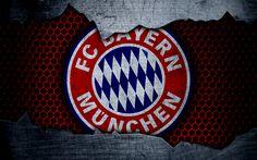 Download imagens O Bayern De Munique, 4k, logo, metal de fundo, futebol, Bundesliga, BVB, O FC Bayern de Munique