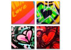 Graffiti Heart Photos Four 5x5 fine art prints by Robin Barrett   CitySistersShop, $55.00 #Photography #Etsy