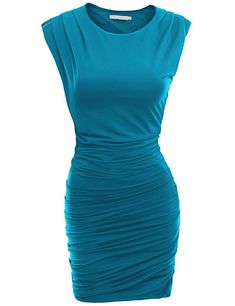 Doublju Classic Slim Fit Sleeveless Sexy Bodycon Dress for Women with Plus Size Teal Large Teal Cocktail Dress, Bodycon Cocktail Dress, Bodycon Dress, Trendy Dresses, Cute Dresses, Fashion Dresses, Dress Skirt, Dress Up, Anna Dress