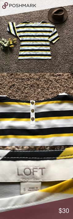 Ann Taylor LOFT Striped Blouse I love this top! Your classic blouse in a beautiful yellow, white, and navy blue striped design and a button back feature! Perfect for the upcoming seasons, easily styled with any other pieces, and very comfortable! This never before worn piece is a must have ladies!  Material: 100% polyester LOFT Tops Blouses