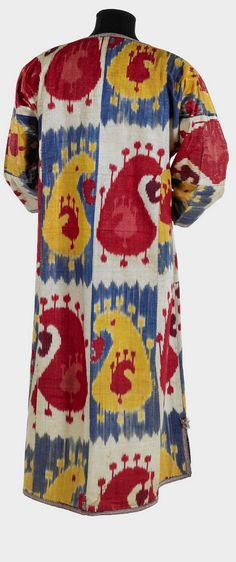 """Late 19 - early 20 c., Coat, Uzbekistan, Bukhara, The Textile Museum, 2005.36.31, The Megalli Collection. From exhibition, """"Colors of the Oasis: Central Asian Ikats"""""""