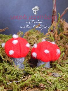 DIY Mushrooms for Christmas!!!! craft your own mini mushrooms with felt and acorn cap for your Christmas Home decoration. Woodland inspiration!