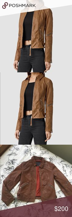 All Saints Saddler Leather Biker Jacket 100% sheep leather jacket in perfect condition! Looks great with jeans and boots. Only worn twice. Jacket is a size 2 but will also fit a 4. All Saints Jackets & Coats
