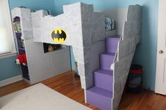Check out this awesome Batcave Bunk Bed Mama Loves Her Bargains made! http://mamalovesherbargains.com/2011/10/a-batman-room-for-a-little-boy/