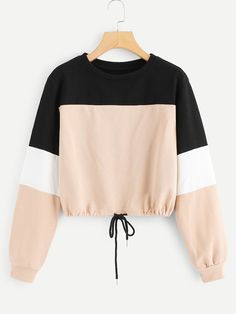 To find out about the Color Block Drawstring Sweatshirt at SHEIN, part of our latest Sweatshirts ready to shop online today! Cute Comfy Outfits, Pretty Outfits, Stylish Outfits, Cool Outfits, Outfits 2016, Girls Fashion Clothes, Teen Fashion Outfits, Trendy Fashion, Style Fashion