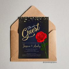 Beauty & The Beast & Our Guest& Wedding invitation, fairytale themed invite, Gold and blue wedding, red rose themed wedding Blue Gold Wedding, Red Rose Wedding, Gold Wedding Theme, Beauty And The Beast Wedding Cake, Wedding Beauty, Beauty And The Beast Wedding Invitations, Disney Wedding Invitations, Quince Invitations, Debut Ideas
