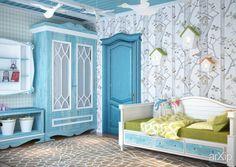 3D визуализация - детская для девочки в голубых тонах: интерьер, квартира, дом, современный, модернизм, детская комната, 20 - 30 м2 #interiordesign #apartment #house #modern #nursery #20_30m2 arXip.com