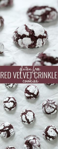 Red velvet gluten free crinkle cookies have all the delicate chocolate taste of red velvet cake, in a sweet little cookie. They never fail to impress!