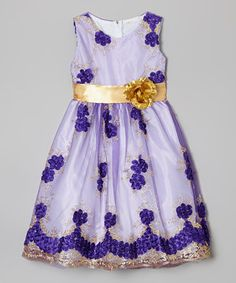 Look what I found on #zulily! Purple & Gold Flower Lace Overlay Dress - Infant, Toddler & Girls by Kid Fashion #zulilyfinds