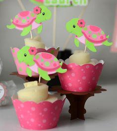 Pink Turtle Birthday Birthday Turtle Baby Shower by bcpaperdesigns
