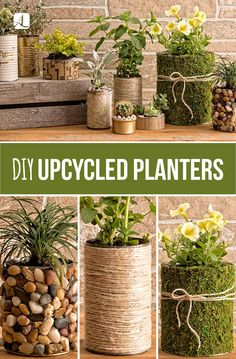 Upcycled Pflanzgef e DIY Handwerk homedecor upcycle planters - UPCYCLING IDEEN - DIY Handwerk homedecor Ideen Pflanzgef e planters Upcycle Upcycled Upcycling # Upcycled Crafts, Diy Upcycled Planters, Diy Planters Outdoor, Garden Planters, Recycled Decor, Upcycled Garden, Fall Planters, Planter Ideas, Diy Projects Recycled