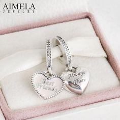 $18-2016 Autumn New 925 Sterling Silver Pink Enamel Heart Always There Best Friends Pendant Charm Beads Fit Pandora Bracelet DIY
