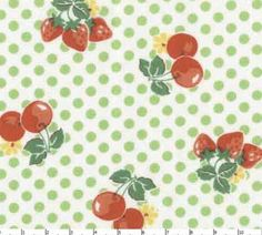 Old new  30 s Lecien fabric,fruit  green dot japanese import,old new fabric 2 yards