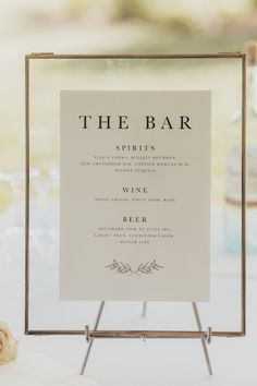 Simple and Classic Bar Sign: Elegant and Classic Garden Wedding planned by Exhale Events. Wedding Signage, Wedding Menu, Garden Wedding, Diy Wedding, Wedding Planning, Dream Wedding, Wedding Day, Wedding Bar Signs, Wedding Cakes