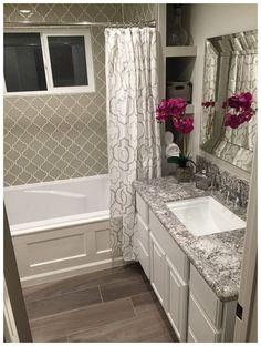 Country Cottage Arabesque Glass Mosaic Tiles His bathroom 3 Modern Small Bathroom Ideas - Great Bath Bathroom Tile Designs, Bathroom Renos, Bathroom Renovations, Home Renovation, Home Remodeling, Bathroom Ideas, Master Bathroom, Bathroom Organization, Taupe Bathroom