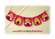 Bumble Bee Bunting. Nursery Art. Baby Shower. Felt. Eco-Friendly. Reusable. Photo prop. Made to order item.