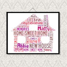 This design is perfect for someone who is moving into a new home. How nice would it be to give someone this great word cloud house design as gift as a house warming present. Choice of sizes available, prices £5.50 - £10 http://wonderofwords.co.uk/shop/house