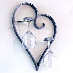 Cuore e Vino (Heart and Wine) Wall Mount Wine glass holder - The Cuore e Vino - hand bent iron heart with 2 integrated wine glass holders. Designed as a simple and decorative way to display your wedding glasses. Handcrafted out of iron in the USA. Welding Art Projects, Metal Art Projects, Blacksmith Projects, Metal Crafts, Art Fer, Wedding Toasting Glasses, Toasting Flutes, Wedding Flutes, Sculpture Metal