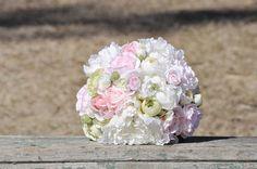 Blush pink white & green peony wedding by Hollysflowershoppe, $99.00
